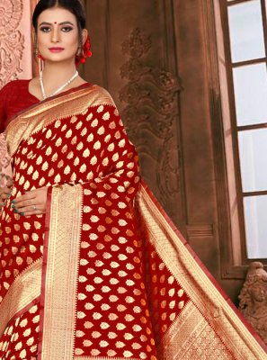 Maroon Art Silk Weaving Traditional Saree