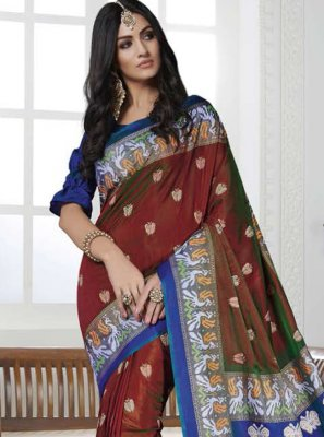 Maroon Casual Contemporary Saree