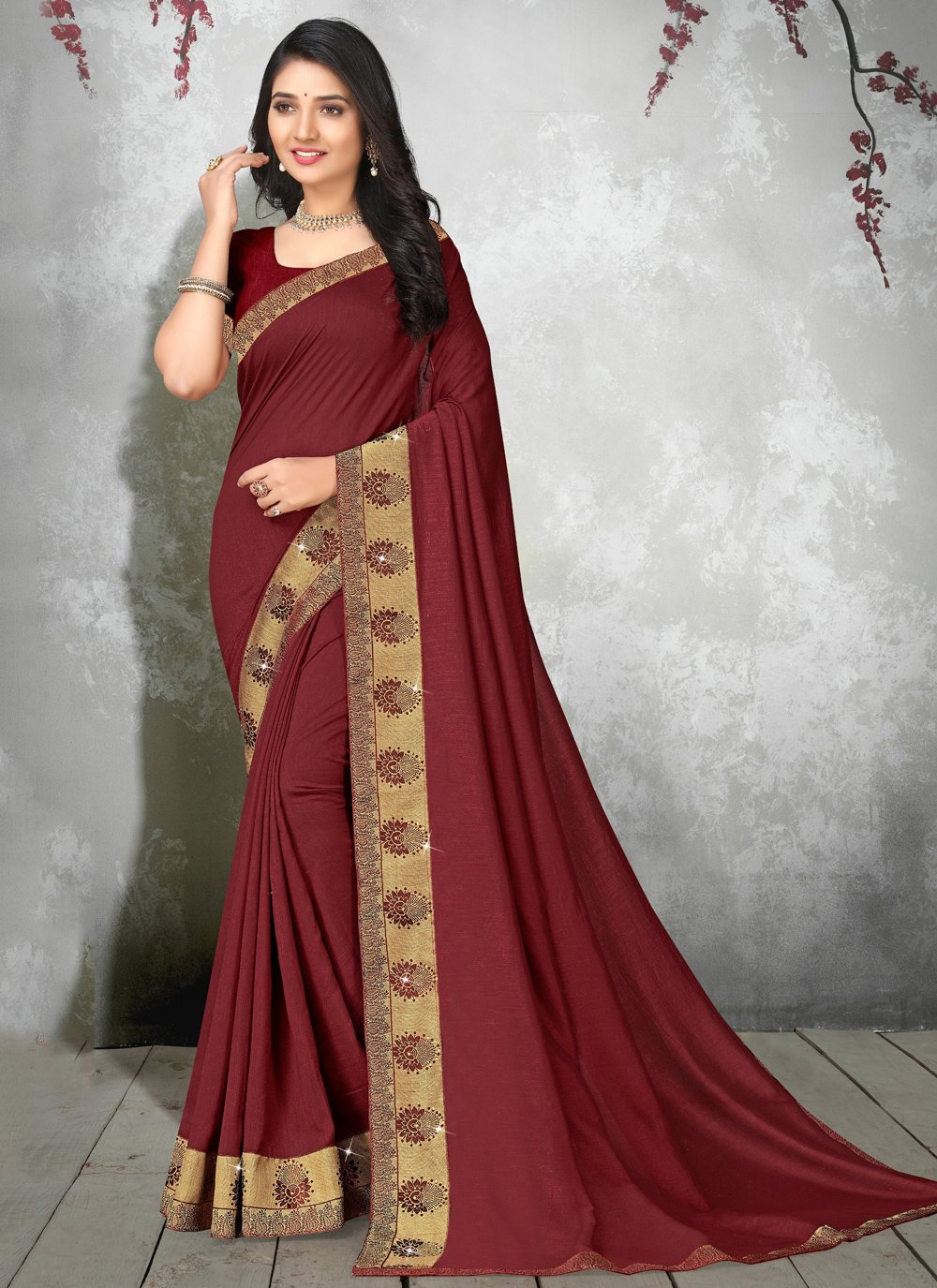 Maroon Casual Saree