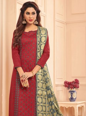 Maroon Ceremonial Churidar Salwar Suit