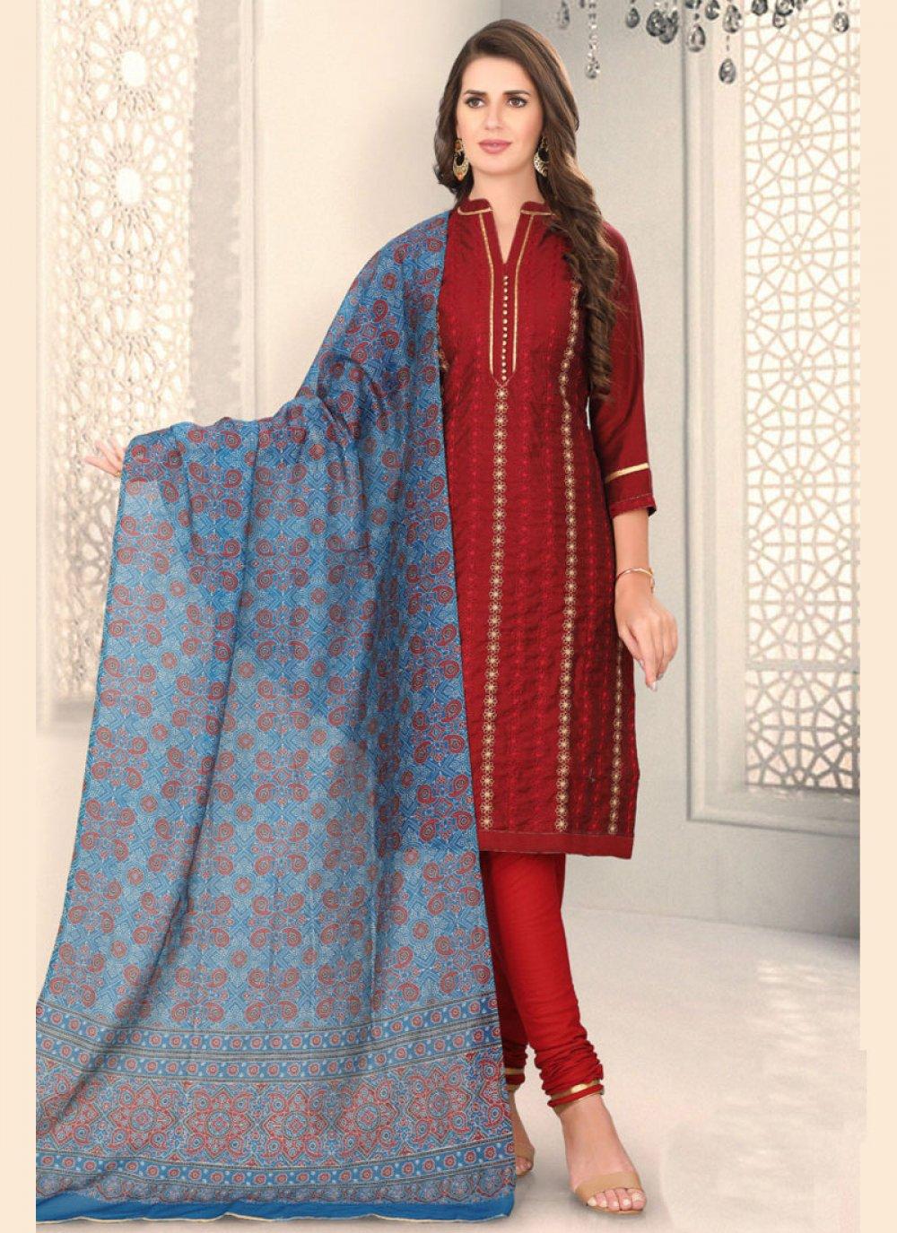Maroon Chanderi Fancy Churidar Designer Suit