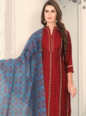 Maroon Chanderi Fancy Churidar Designer Suit