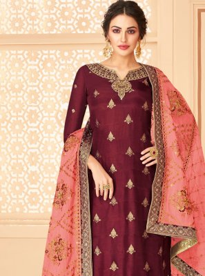 Maroon Color Trendy Palazzo Suit