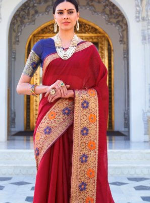 Maroon Color Trendy Saree