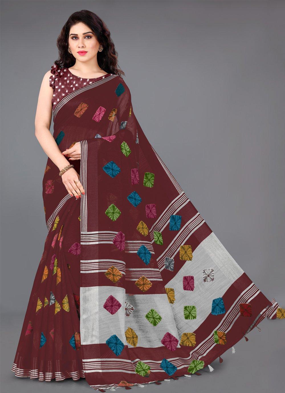 Maroon Cotton Printed Trendy Saree