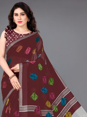 Maroon Cotton Printed Trendy Saree