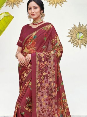 Maroon Digital Print Silk Saree