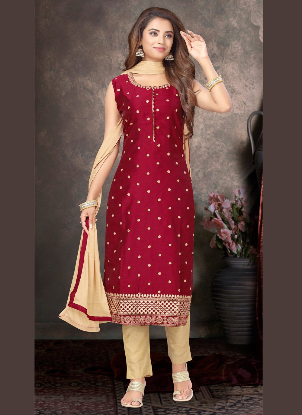 Maroon Embroidered Ceremonial Bollywood Salwar Kameez