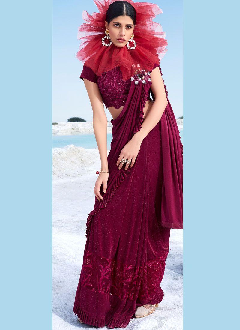 Maroon Embroidered Classic Designer Saree