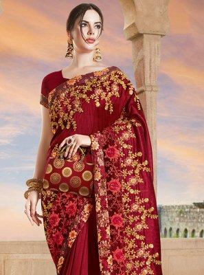 Maroon Embroidered Designer Bridal Sarees