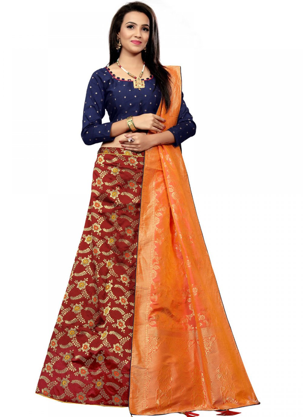Maroon Embroidered Designer Lehenga Choli