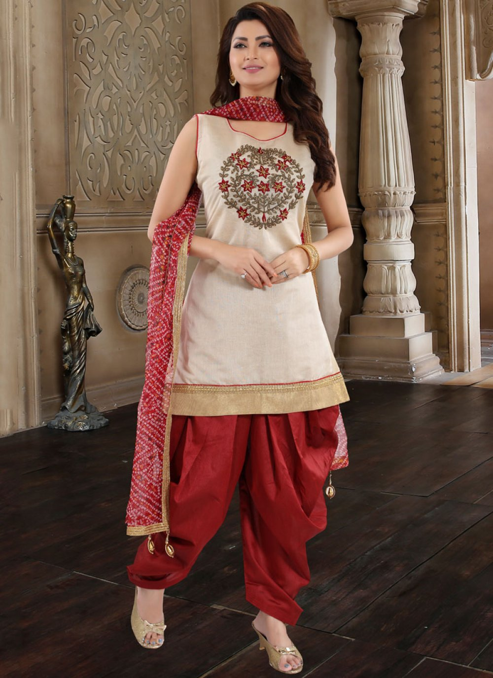 Maroon Embroidered Designer Patiala Suit