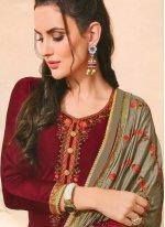 Maroon Embroidered Designer Salwar Kameez