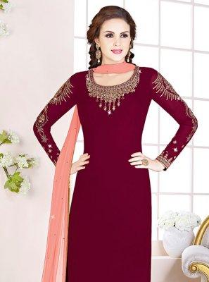 Maroon Embroidered Designer Salwar Suit