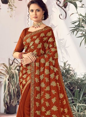 Maroon Embroidered Faux Chiffon Classic Saree