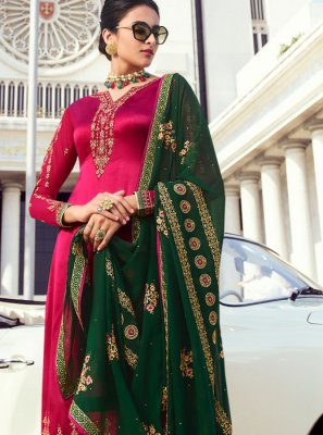 Maroon Embroidered Faux Georgette Designer Palazzo Salwar Suit