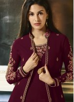Maroon Embroidered Faux Georgette Designer Salwar Kameez