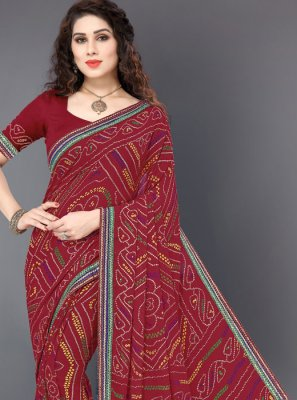 Maroon Embroidered Faux Georgette Designer Saree