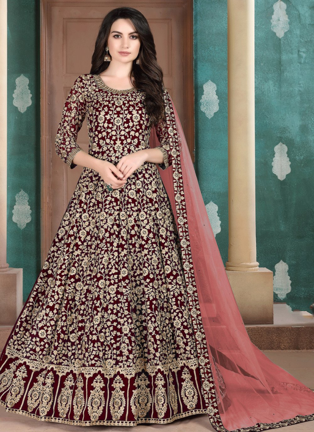 Maroon Embroidered Faux Georgette Salwar Suit