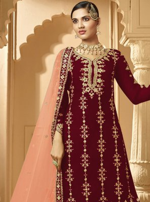 Maroon Embroidered Georgette Designer Palazzo Salwar Suit