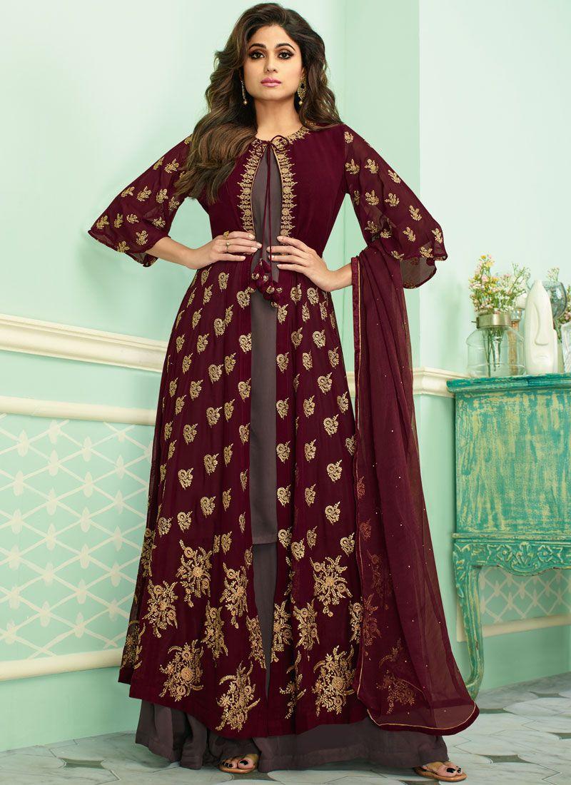 Maroon Embroidered Georgette Designer Salwar Suit