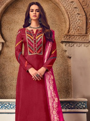 Maroon Embroidered Georgette Salwar Kameez