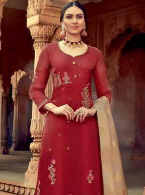 Maroon Embroidered Georgette Salwar Suit