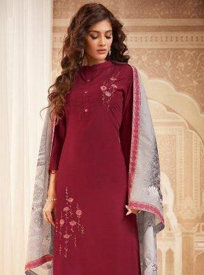 Maroon Embroidered Maslin Silk Pakistani Salwar Kameez
