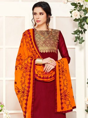 Maroon Embroidered Party Salwar Kameez