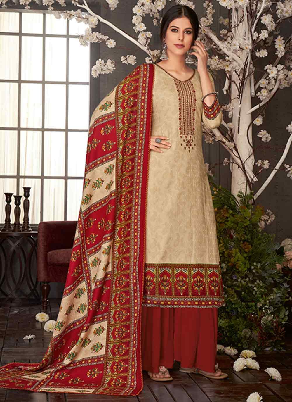 Maroon Embroidered Party Trendy Palazzo Salwar Suit