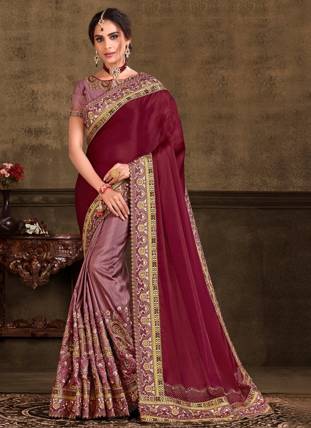 Maroon Embroidered Party Trendy Saree