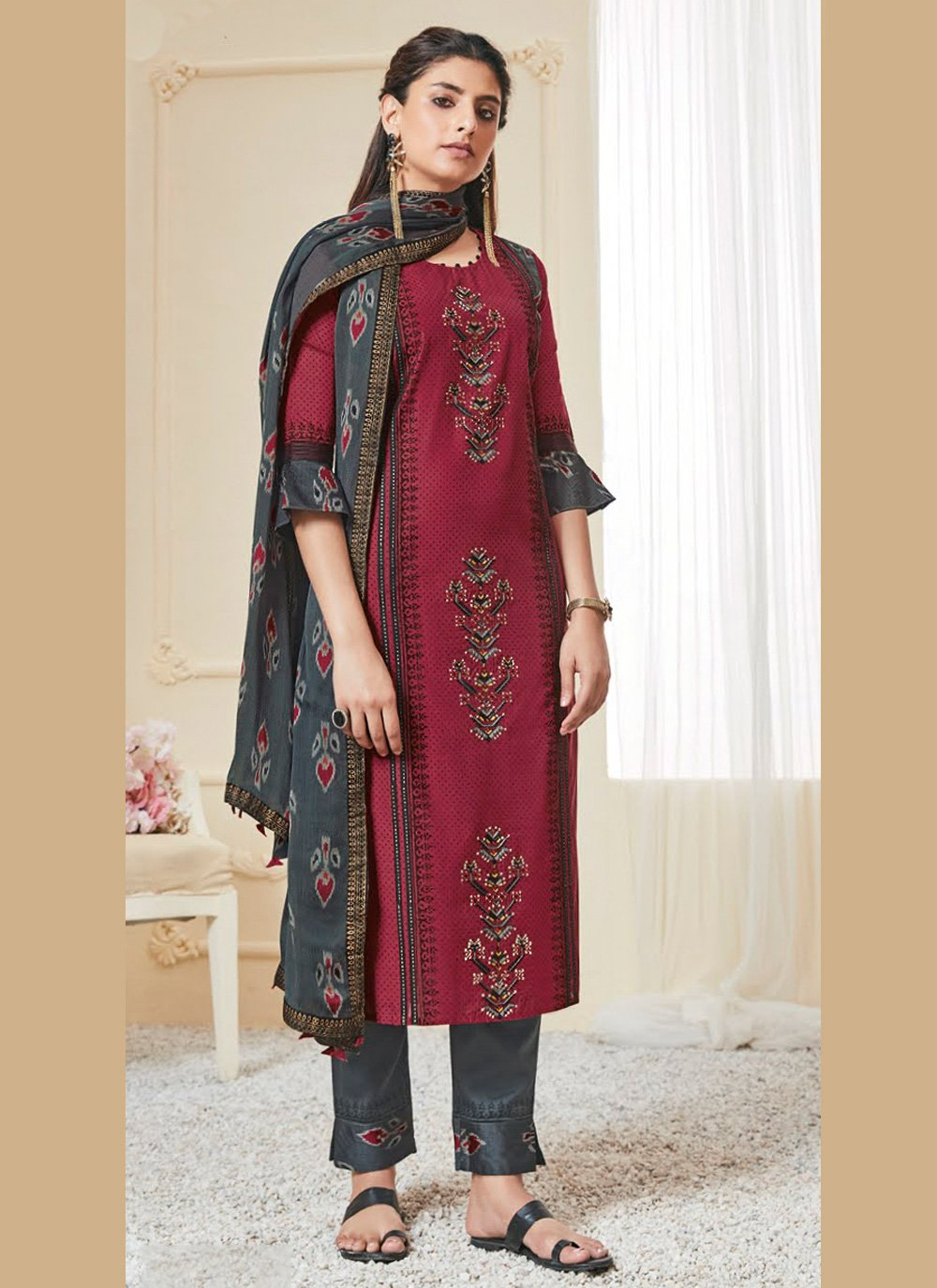 Maroon Embroidered Polly Cotton Pant Style Suit