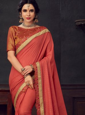 Maroon Embroidered Poly Silk Silk Saree