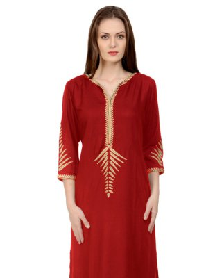 Maroon Embroidered Rayon Casual Kurti