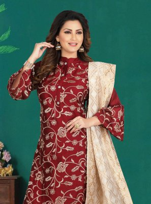 Maroon Embroidered Salwar Kameez