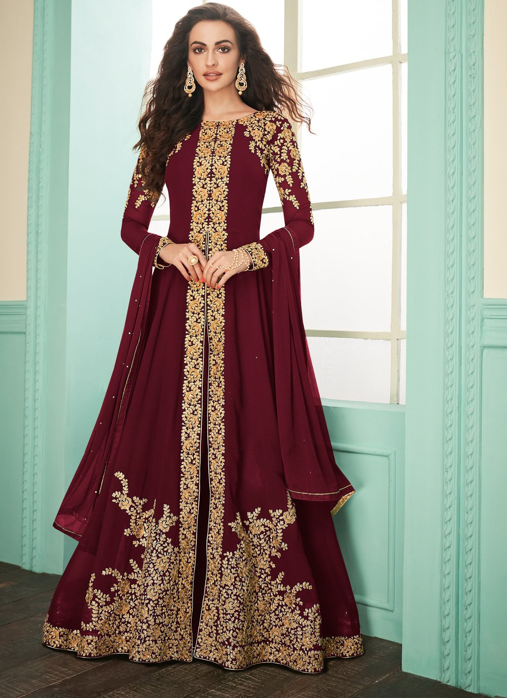 Maroon Embroidered Salwar Suit