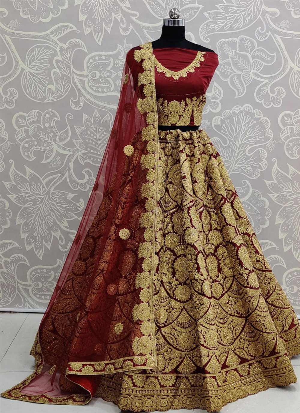 Maroon Embroidered Satin Silk Designer Lehenga Choli