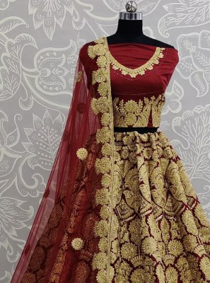 Maroon Embroidered Satin Silk Designer Lehenga Choli