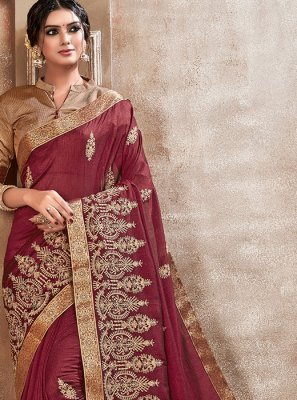 Maroon Embroidered Silk Saree