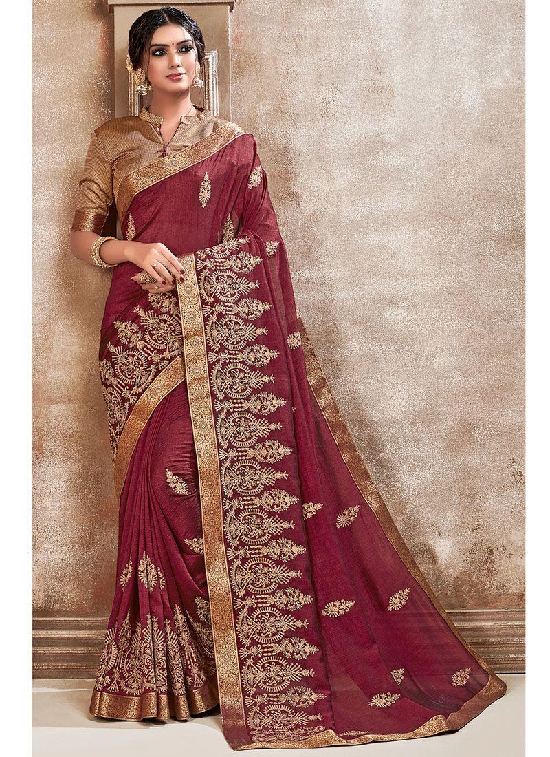 Maroon Embroidered Silk Saree