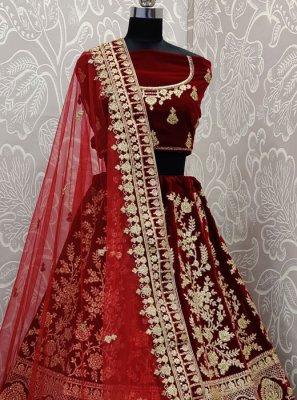 Maroon Embroidered Velvet Designer Lehenga Choli