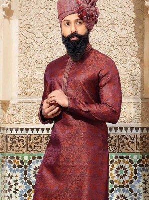 Maroon Embroidered Wedding Kurta Pyjama