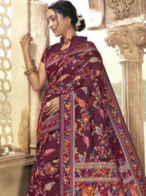 Maroon Engagement Saree