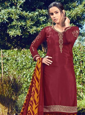 Maroon Faux Crepe Embroidered Bollywood Salwar Kameez