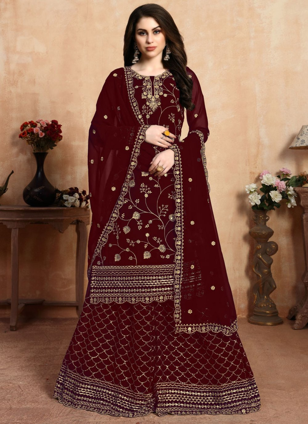 Maroon Faux Georgette Embroidered Designer Palazzo Suit
