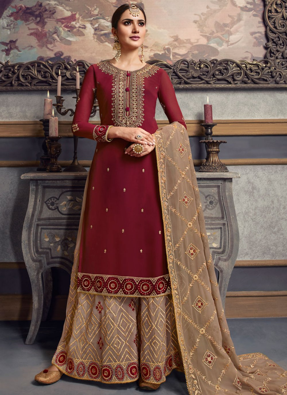 Maroon Faux Georgette Palazzo Salwar Suit