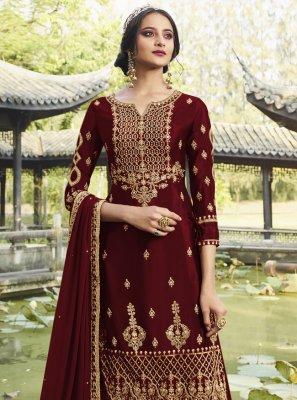 Maroon Festival Salwar Suit