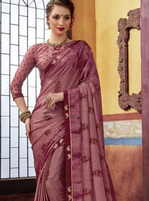 Maroon Foil print Party Designer Saree