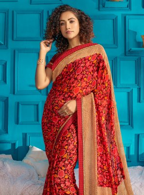 Maroon Georgette Casual Casual Saree