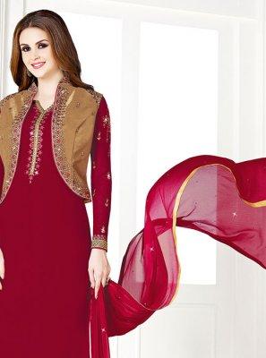 Maroon Georgette Ceremonial Designer Salwar Suit